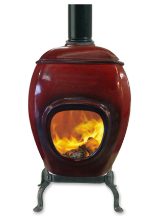 Earthfire - Deep Red Raku Small