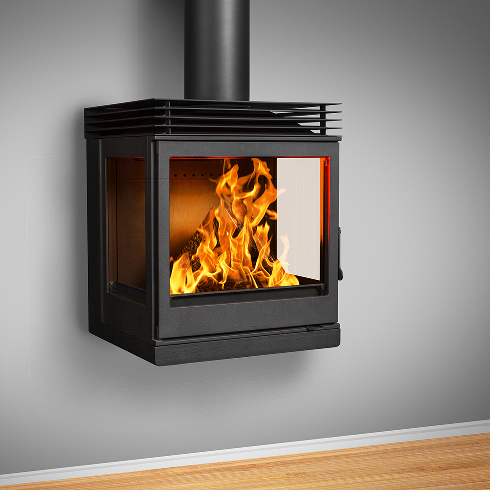 Nova Wall Mounted (Side Glass with Top Plate Diffuser) Fireplace - 10-12kW