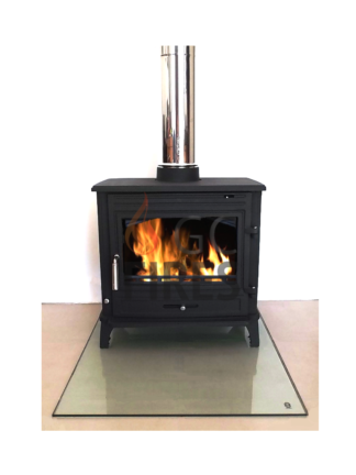 GC Fires - Clear glass floor plate, small, large, tempered safety glass, closed combustion fireplace installation, flue kits and accessories (3)