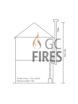 GC Fires - Double story with flue outside and not insulated - 130mm, 7.0m flue kit - closed combustion fireplace installation
