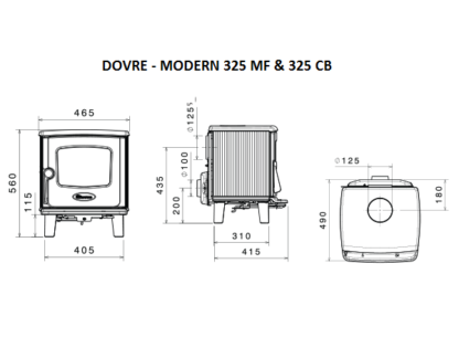 GC Fires - Dovre Modern Series 325 MF - 325 CB - multifuel - closed combustion - cast iron fireplace - stove - 5-7kW (2)